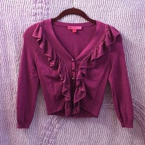 Dark Cranberry Betsey Johnson Cardigan